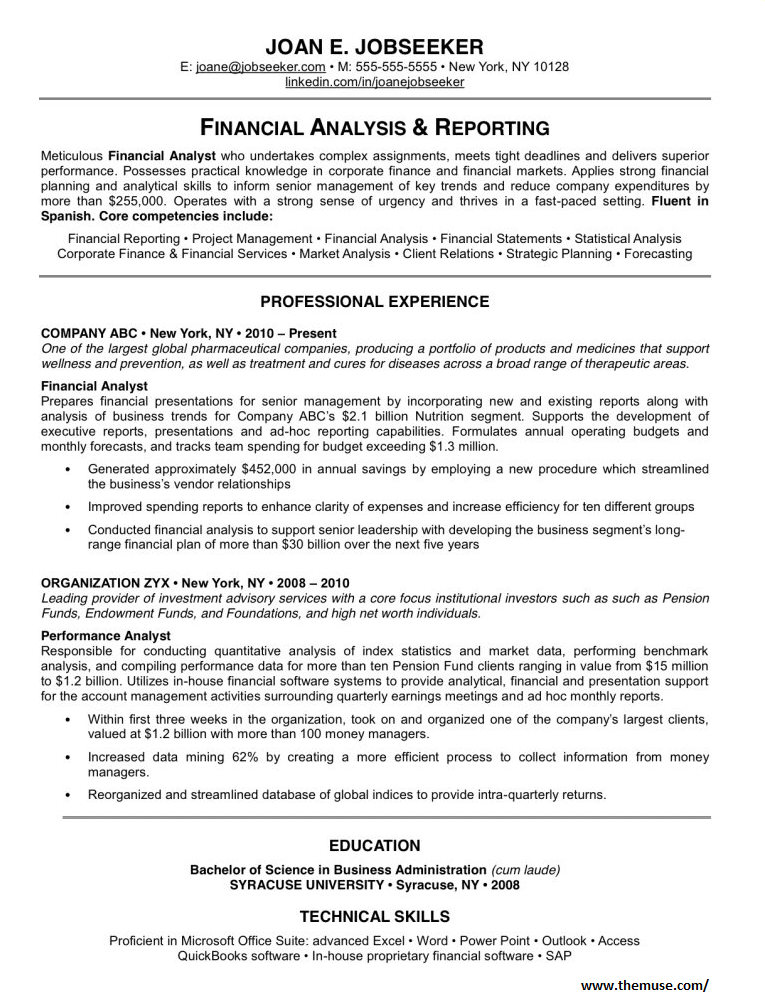 Financial analytics's Resume